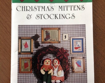 Christmas Stockings and Mittens, antique quilt cutouts, vintage quilt cutouts, cross stitch with stockings and mittens, Folk Heart designs
