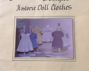 Ashli Elizabeth Designs, historic doll clothes pattern, smocked yoke doll dress pattern, doll Pinafore pattern,  vintage doll dress pattern