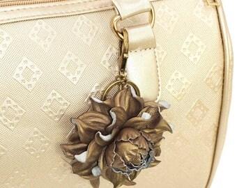 Genuine Metallic Leather Flower Bag Charm, Bronze Rose Bag Clip Real Leather Purse Charm, Flower Bag Clip Key chain Rose Clasp Handbag Charm