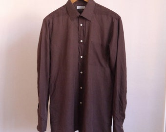 70's shirt Silvano Benetti 80's Vintage shirt Brown cotton shirt Long sleeve medium size