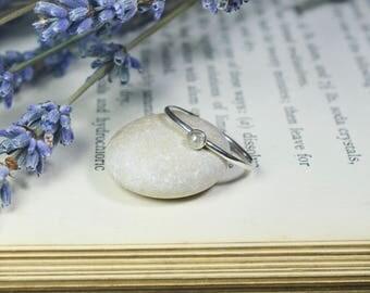 Rose Cut Gray Diamond Ring 925 - Stacking Ring - Grey Diamond Ring - Rough Diamond - April Birthstone