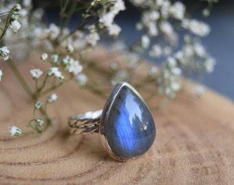 Labradorite Ring, Sterling Silver Ring, Boho Rings, Labradorite Jewelry, Gift for women, Size 8 Labradorite Ring,Handmade Ring,Gemstone Ring