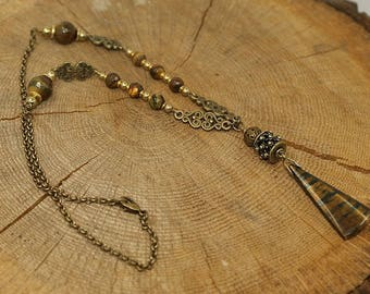 Necklace Tiger eye protection, antiqued bronze, brass