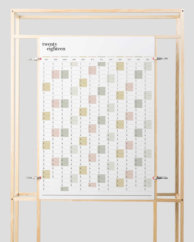 Year Calendar Wall : Printable pdf a portrait wall planner year