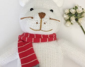 A Handmade Cute Cat Doll. Animal handmade doll. Textile doll, Home Decoration doll, Good Gift For Cool Friends.