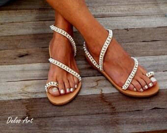 """Crystal & pearls, elegant, Bridal sandals, Leather sandals, """"Elf"""",  Beach Wedding Sandals, wedding shoes, luxury sandals, Greek Sandal"""