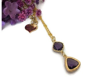 Purple Glass Pendant Necklace, Glass Pendant Necklace, Jewel Necklace, Gold Pendant Necklace, Purple Necklace