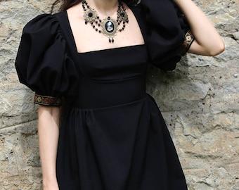 Gothic Dress, Black Dress, Black Gothic Dress, Fantasy Dress, Short Black Dress, Goth Dress, Black Goth Dress, Puffed Sleeves, Short Dress