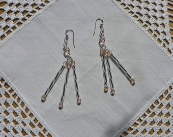 Earrings with crystal beads from pink