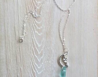 Sea Glass Jewelry Fairy Sea Glass Necklace Seaglass Necklace Sea Glass Pendant Necklace Beach Glass Necklace  Fairy Jewelry
