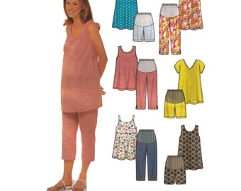 Uncut Simplicity 9749 Sewing Pattern, Size 12-18 Women's Maternity Top Pattern, Maternity Pants Loose Fitting, Maternity Shorts
