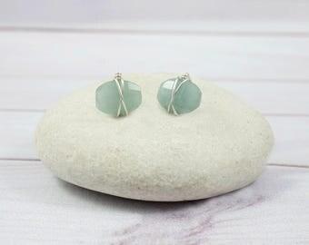 Aquamarine Earrings, Stone Earrings, Gemstone Earrings, Small Earrings, Blue Earrings, Unique Earrings, March Birthstone Jewelry, Post, Stud