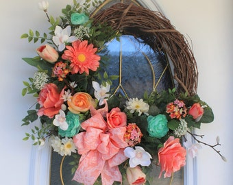 Spring Wreath, Summer Wreath, Front Door Wreath, Floral Grapevine Wreath, Rose Wreath, Easter Wreath, Mothers Day Wreath