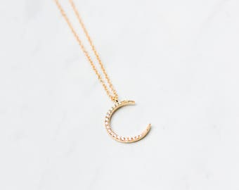 Crescent Moon Necklace, Gold moon necklace, Crescent Necklace, CZ Moon Necklace, half moon, Cubic zirconia moon pendant, gold CZ necklace,