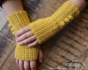 Fingerless Mittens with Pompoms - Ochre winter crochet