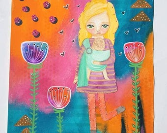 Babywearing collage art - Mixed media painting -  Whimsical girl - ring sling - illustration - mother and baby