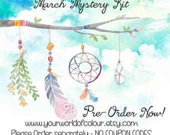 March Mystery Kit Planner Stickers, Planner Charm, Erin Condren, Kate Spade, Filofax, TN, Happy Planner, Dream Catchers, Boho, NO COUPON