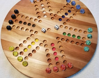 Handcrafted Solid Wood Two Sided Aggravation Game / Marble Game