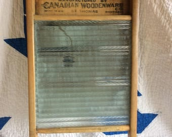 Antique Economy glass washboard Canadian woodenware Co large size