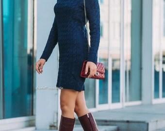 More colors! Dark blue wool dress Light beige knitted dress Womens pink dress White Knit tunic Winter Knit dress womens long sleeve