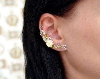 White Rose Ear Cuff Flower earrings Bridesmaid earrings Fake piercing Onyx Earrings Green Ear Cuff Wedding Jewelry gift for her Ear wrap