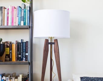 Mid-Century Modern Tripod Table Lamp in Solid Walnut
