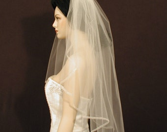 "30"" Elbow Length Cascade/Waterfall Wedding Veil with 1/4"" organza ribbon edge"
