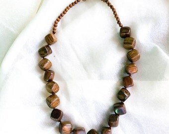 Wooden Necklace, Wood Bead Necklace, Brown Necklace, Chunky Wood Necklace, Gift for Her