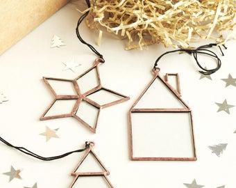 Minimalist Glass Christmas Ornaments - Christmas Decorations - Christmas  2017 Decor - Scandinavian Christmas Decor -