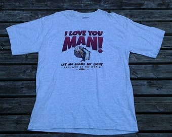 """Vintage 80's / 90's Jesus Christ """"I love you man!"""" t-shirt Made in USA XL"""