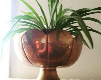 Vintage brass pedestal lotus bowl