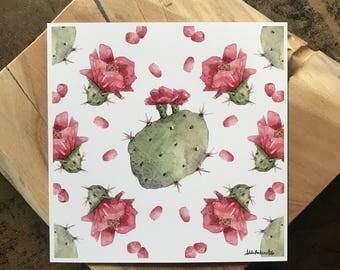 Prickly Pear Cactus Pattern 1 Print