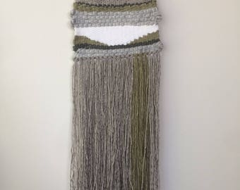 Woven Wall Hanging - Grey, white & green