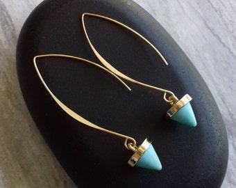 Turquoise earrings - drop earrings - dangle earrings - gold earrings - turquoise drop - turquoise jewelry - turquoise gold - blue turquoise