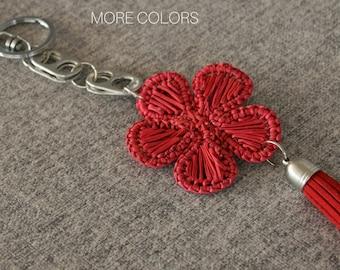Keychain for Women / Flower Keychain / Tassel Keychain / Keychain for Girls  / Hand-Weaving Keychain / Upcycled Keychain / Bold Keychain