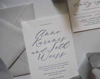 Minimalist Letterpress Wedding Invitations