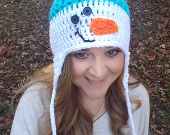 Crochet Snowman Beanie, Snowman Hat with or without ear flaps & tails,Frosty Snowman,Christmas gifts, Christmas Presents, Winter,Fall