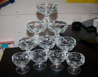 Federal Glass Ice Cream / Sherbet Glasses set of 10