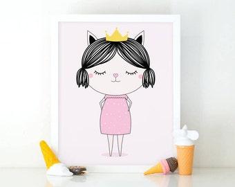 Little cat princess, Princess print, printable wall art, Girls room decor, Nursery decor, cute wall art, nursery wall art, Princess poster
