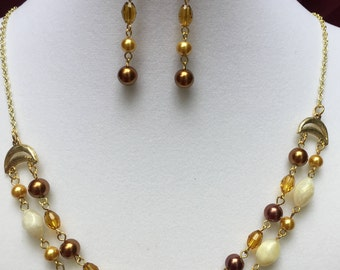 Brown and Gold Necklace and Earring Set