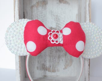 Minnie Mouse Headband, Red Minnie Headband, Minnie Headband Minnie Costume,Minnie Mouse Ear Headband, Minnie Ears , Minnie Birthday Headband