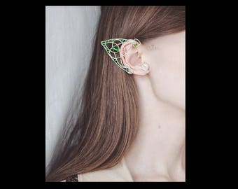 Green celtic ear cuffs Pair of elven ears St.Patrick 's Day Leprechaun Valentine's day Romantic gift Fantasy Fairy earcuffs Celtic pattern