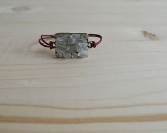 White beach glass magnetic bracelet