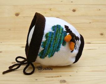 Crochet Toddler Hat, Toddler Girl Bonnet, Kids Winter Hat, White Bonnet, Knit Toddler Beanie, Acorn Hat, Brown Hat, Toddler Ear flap Hat.