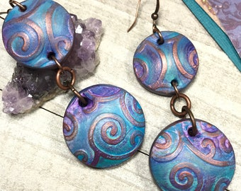 Polymer Clay Earrings, Boho Earrings, Domed Disk Earrings, Artisan Clay Earrings, Drop Circle Earrings, Statement Earrings, Linked Earrings