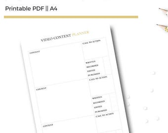 Blog Video Planner Printable A4 Insert. Video Blog / Vlog Content Planner for Bloggers & Business Owners.