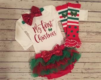 My First Christmas Baby Girl, First Christmas Outfit Girl, First Christmas shirt, Baby girl 1st Christmas outfit, newborn Christmas outfit