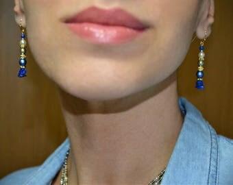 Free shipping, Natural lapislazuli earrings, Gemstone dangle earrings, Swarovski pearls earrings, Royal blue ethnic boho earrings, Egyptian