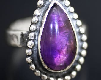 Amethyst Drop Silver Ring, handmade amethyst ring, witch ring, wiccan ring, ancient ring, medieval ring, amethyst silver ring, teardrop ring