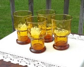 Amber Libbey Country Garden Tumblers Glasses 4 (Four) Floral Daisy 1970s Vintage Cottage  Boho